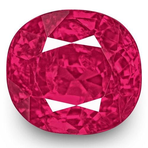 IGI Certified Burma Ruby, 1.75 Carats, Bright Pinkish Red Cushion