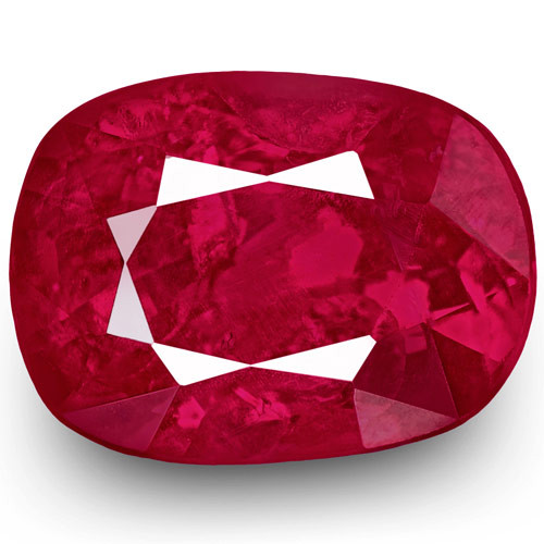 IGI Certified Burma Ruby, 1.00 Carats, Rich Pinkish Red Cushion
