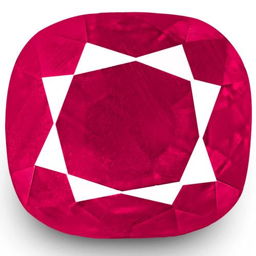 IGI Certified Burma Ruby, 1.11 Carats, Velvety Deep Pinkish Red Cushion