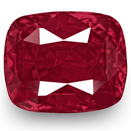 Madagascar Ruby, 4.53 Carats, Lustrous Rich Pinkish Red Cushion