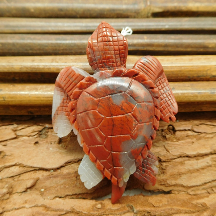 Red agate carved stone animal pendant turtle (G1186)
