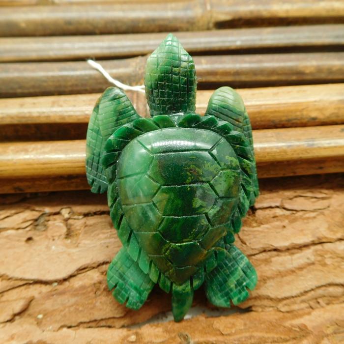 African jade carved turtle pendant animal craft (G1187)