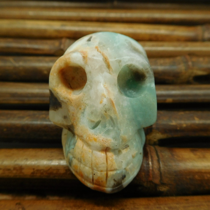 Amazonite carved skull decoration bead (G1215)