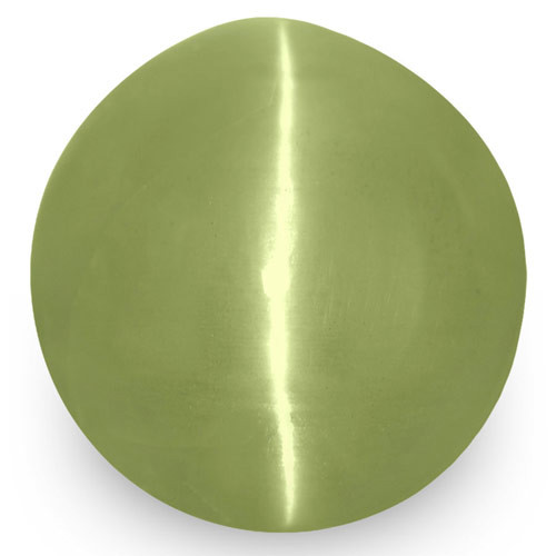 IGI Certified India Chrysoberyl Cat's Eye, 6.14 Carats, Green Round