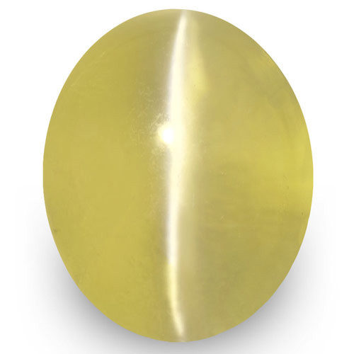 IGI Certified Sri Lanka Chrysoberyl Cat's Eye, 2.58 Carats, Greenish Yellow