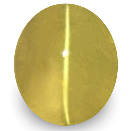 IGI Certified Sri Lanka Chrysoberyl Cat's Eye, 5.01 Carats, Deep Yellow
