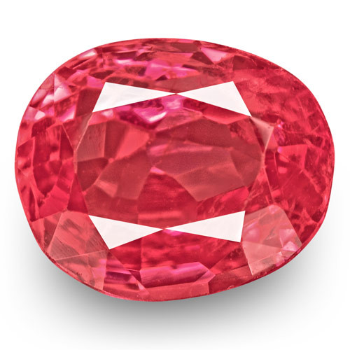 IGI Certified Burma Spinel, 0.87 Carats, Intense Orangy Pink Oval