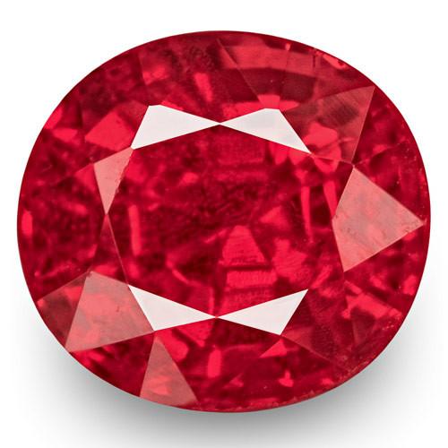 IGI Certified Burma Spinel, 0.72 Carats, Fiery Rich Orangy Pink Oval