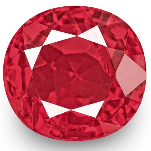 IGI Certified Burma Spinel, 0.77 Carats, Neon Reddish Pink Oval