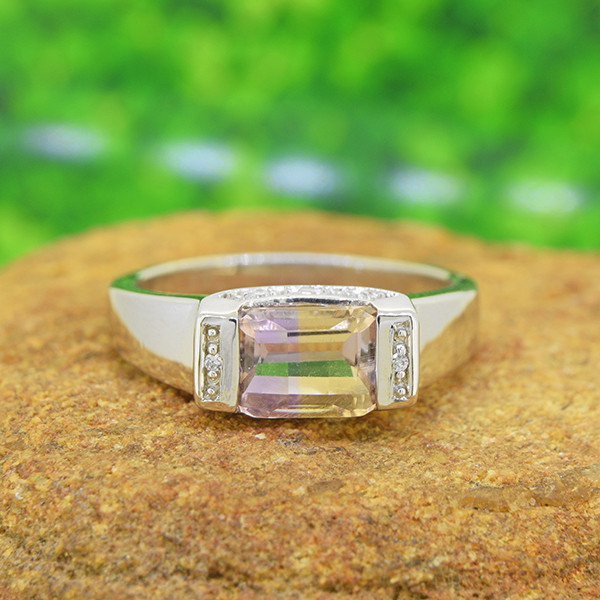 Natural  Ametrine  925 Sterling Silver Ring SIZE 8