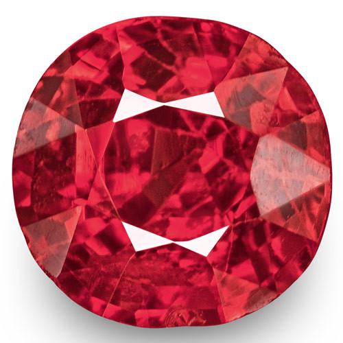 IGI Certified Burma Spinel, 0.71 Carats, Intense Reddish Pink Cushion