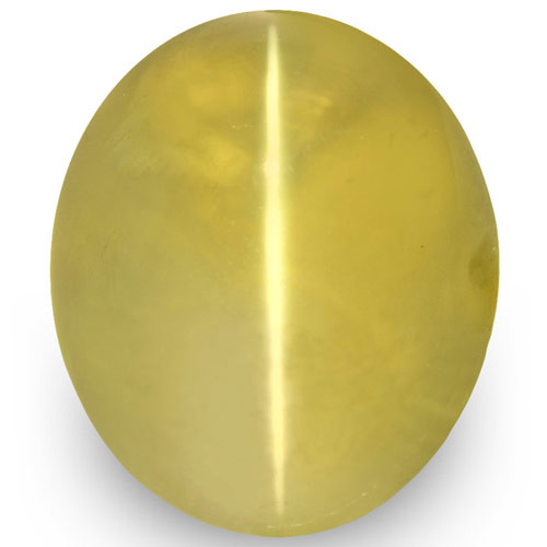 IGI Certified Sri Lanka Chrysoberyl Cat's Eye, 2.78 Carats, Yellow Oval