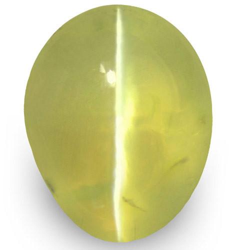 IGI Certified Sri Lanka Chrysoberyl Cat's Eye, 1.21 Carats, Greenish Yellow