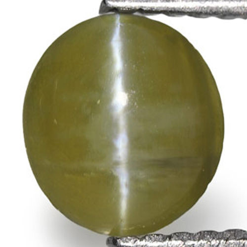 Madagascar Chrysoberyl Cat's Eye, 0.97 Carats, Deep Olive Green Oval