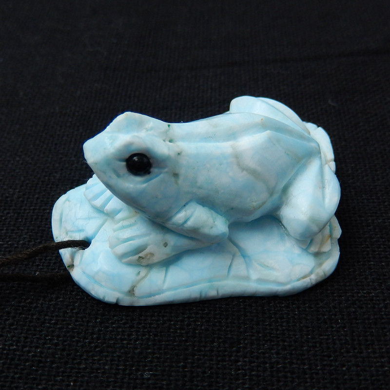 New!! Hand Carved Gemstone Larimar Frog Pendant ,41x30x20mm H8297