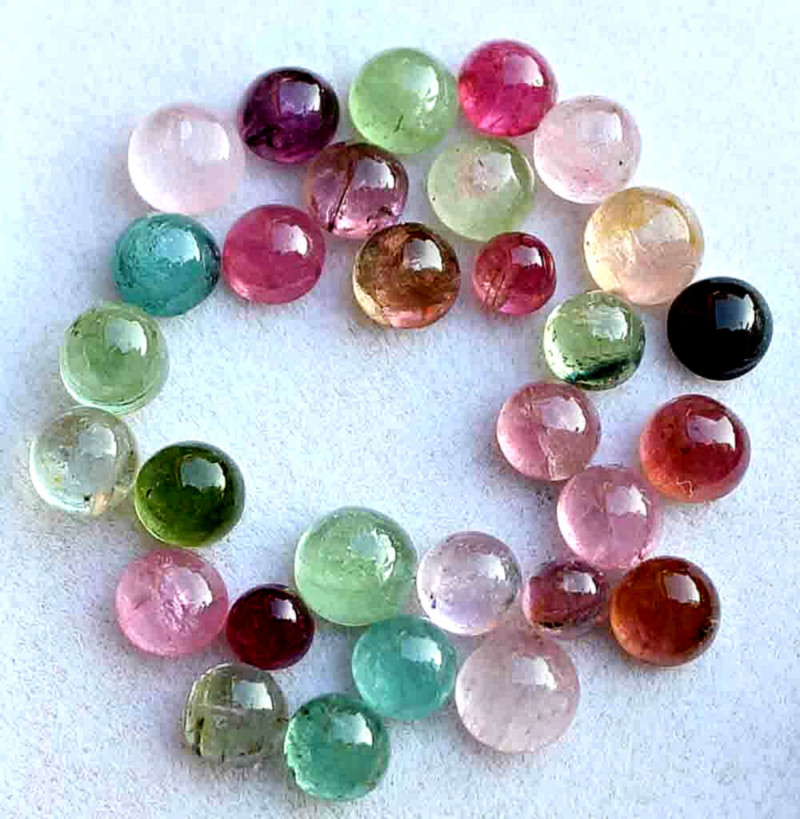 19.9 Tcw.  Fancy Tourmaline Cabochons - Gorgeous