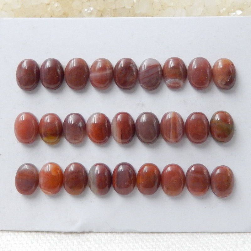 Beautiful Oval Wood Fossil Cabochons, 1 Set Red Gesmtone,Wholesale D857