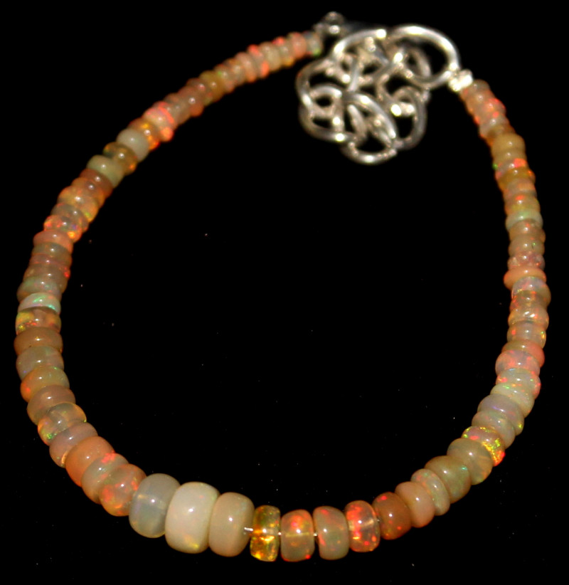 18 Crts Natural Ethiopian Welo Fire Opal Beads Bracelet 891