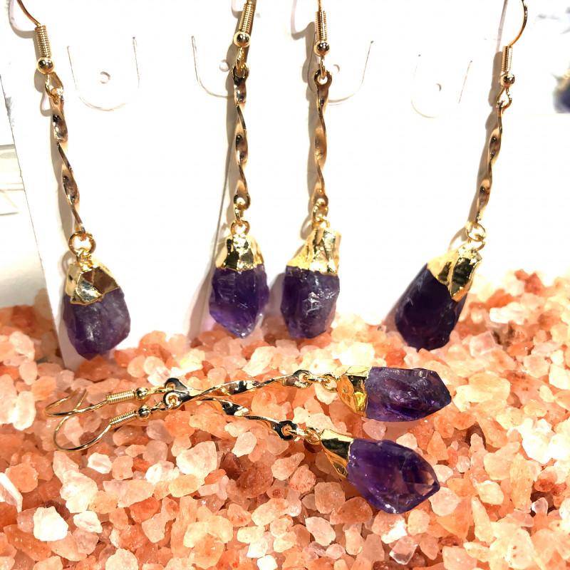 x3 Raw Amethyst Gemstone Drop Earrings BR 435