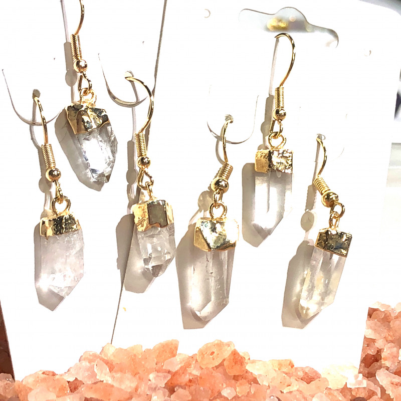 x3 Drop Earrings Terminated Point Crystal BR 436