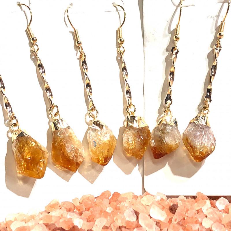 x3 Long Drop Raw Citrine Earrings BR 438
