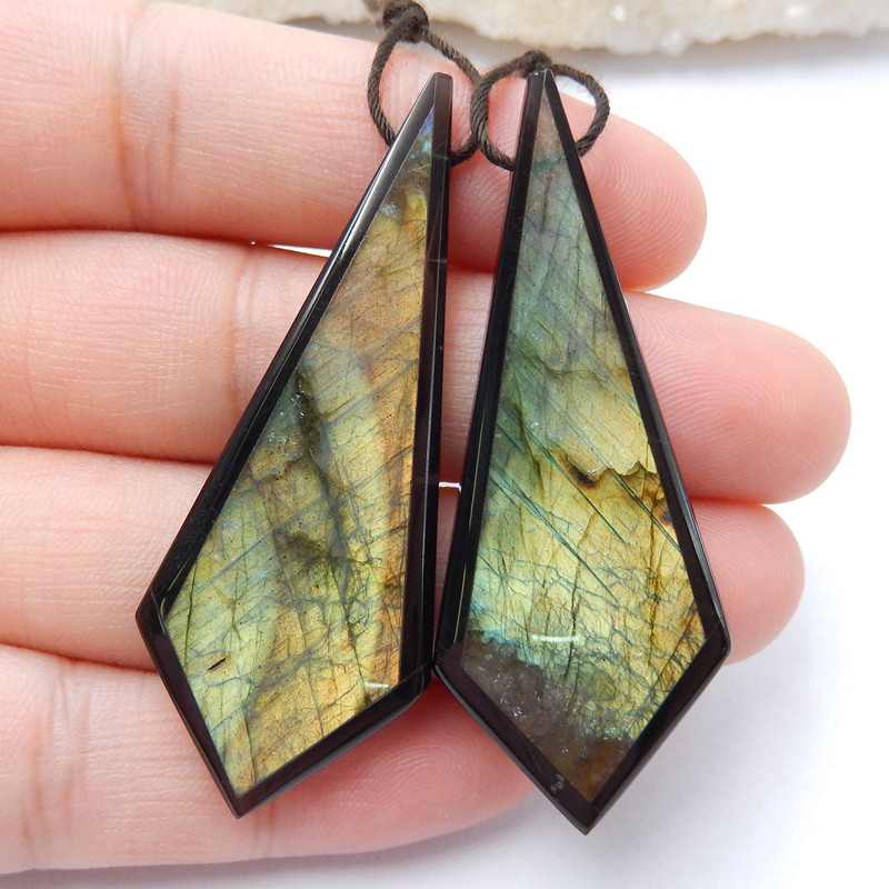 Natural Obsidian and Labradorite Intarsia Gemstone Earrings Bead, 51x20x5
