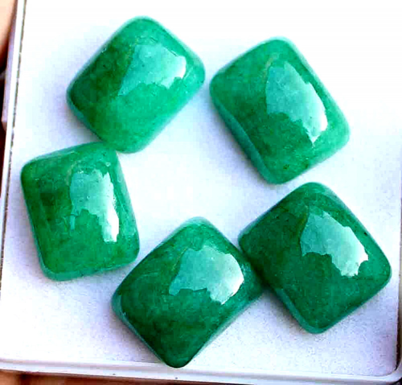 59.8 Tcw. Indian Emerald Ring Cabochons - Gorgeous