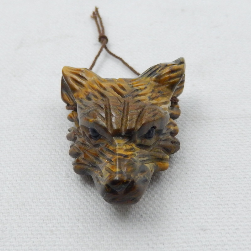 116.5cts Hand Carved Wolf Pendant ,Tiger Eyes Wolf ,Wolf Head Pendant D902