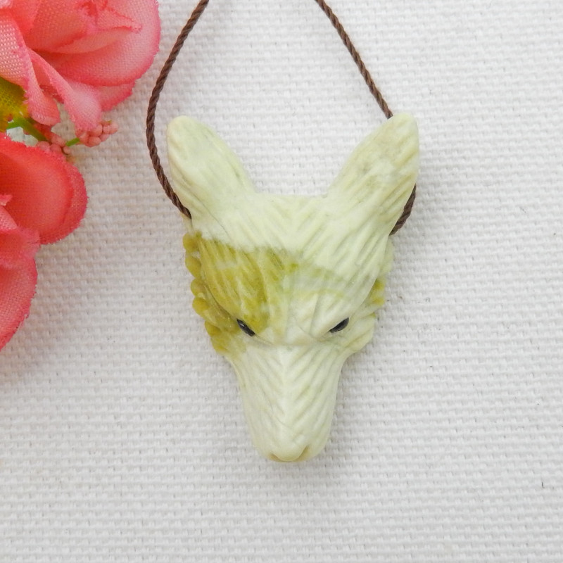 45cts Hand Carved Wolf Pendant ,Serpentine Wolf ,Wolf Head Pendant D903