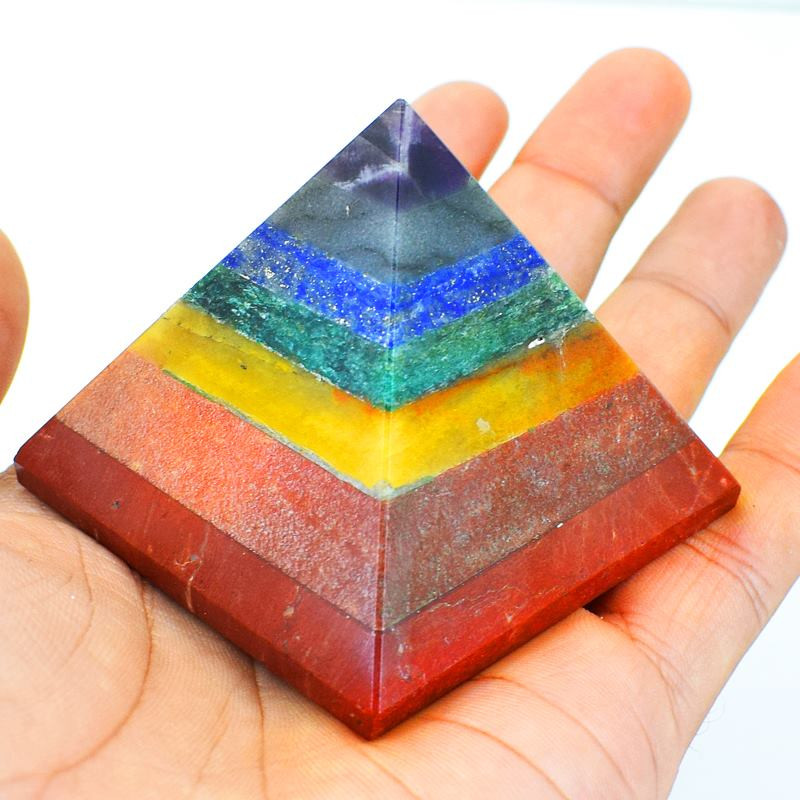 Genuine 840.00 Cts Seven Chakra Healing Pyramid