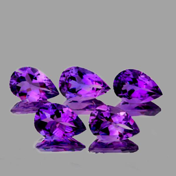 8x5 mm Pear 5pcs 3.77cts Purple Amethyst [VVS]