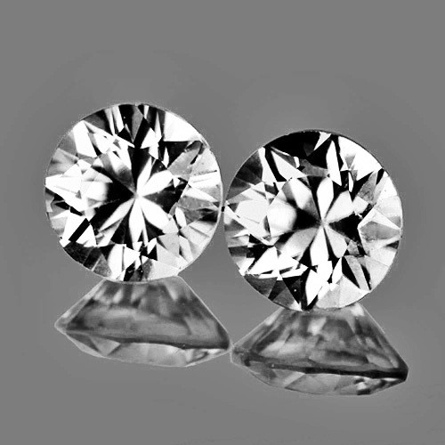 4.50 mm Round 2pcs 1.04cts White Zircon [VVS]
