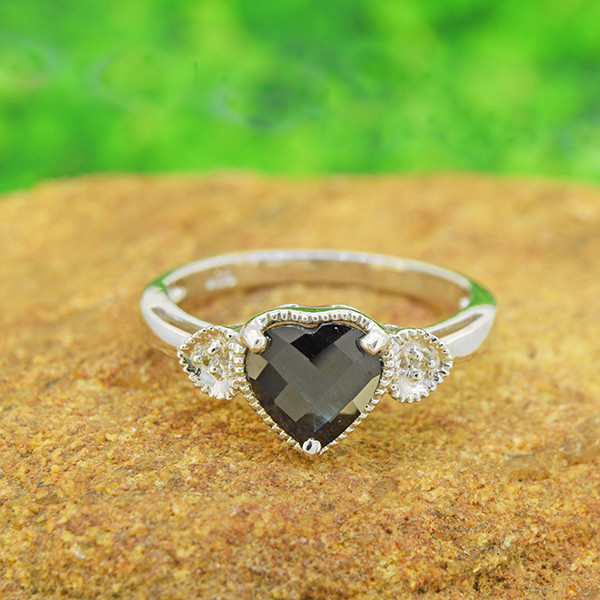 Natural Black Sapphire Heart 925 Sterling Silver Ring Size 6(SSR0558)