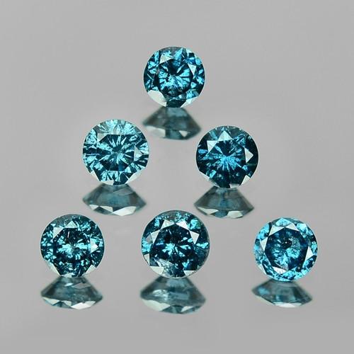 0.57 Cts 6pcs FANCY BLUE COLOR NATURAL DIAMOND