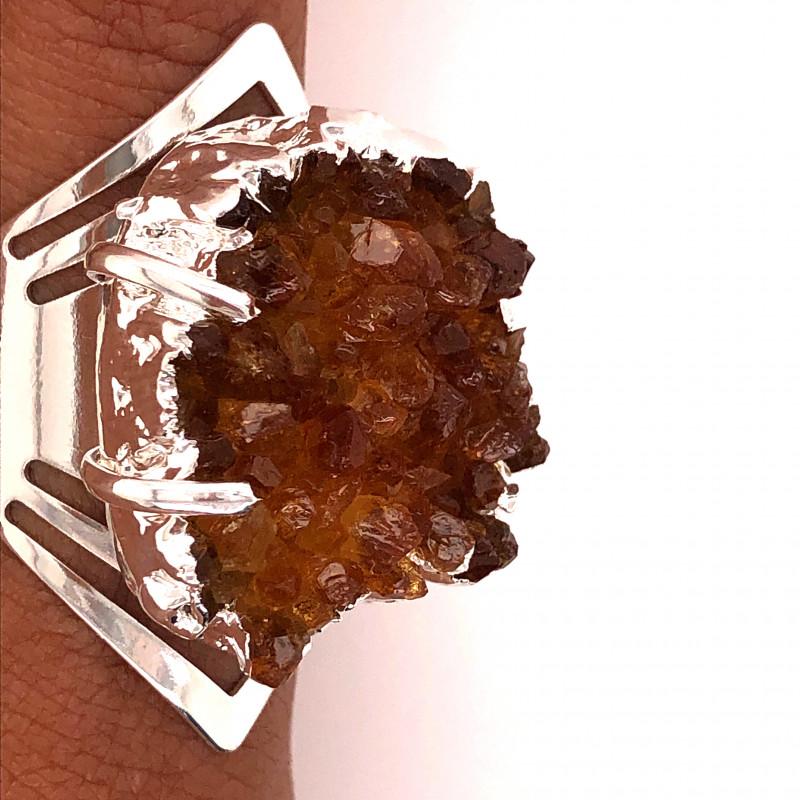 Raw High Grade Citrine Druzy Silver Ring BR 479