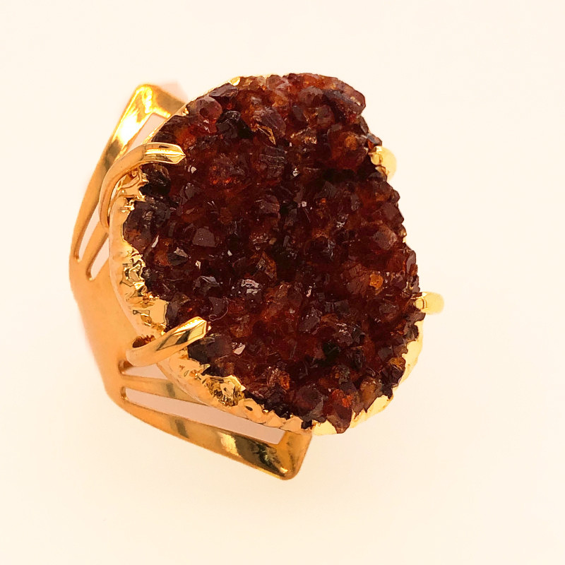 Raw High Grade Citrine Druzy Golden Ring BR 480
