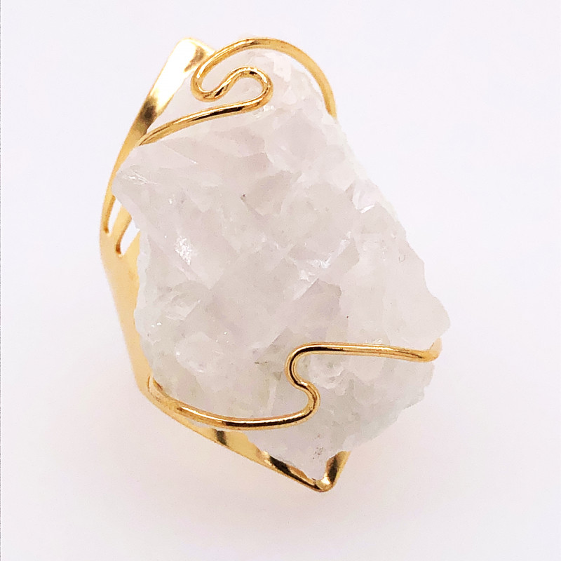 Wire wrapped Crystal Terminated Point Golden Ring BR 498