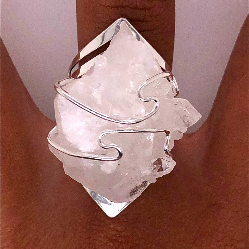 Mystic Crystal Wire Wrapped Terminated Point Silver Ring BR 517