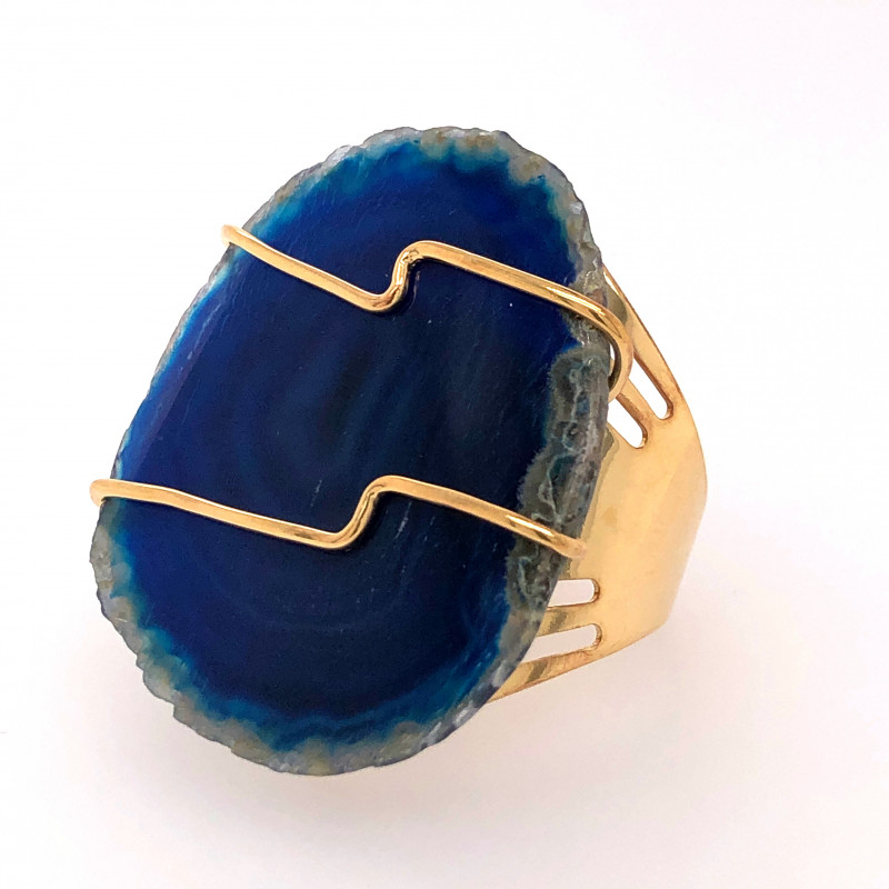 Blue Agate wire wrapped Ring Gold Plated BR 524