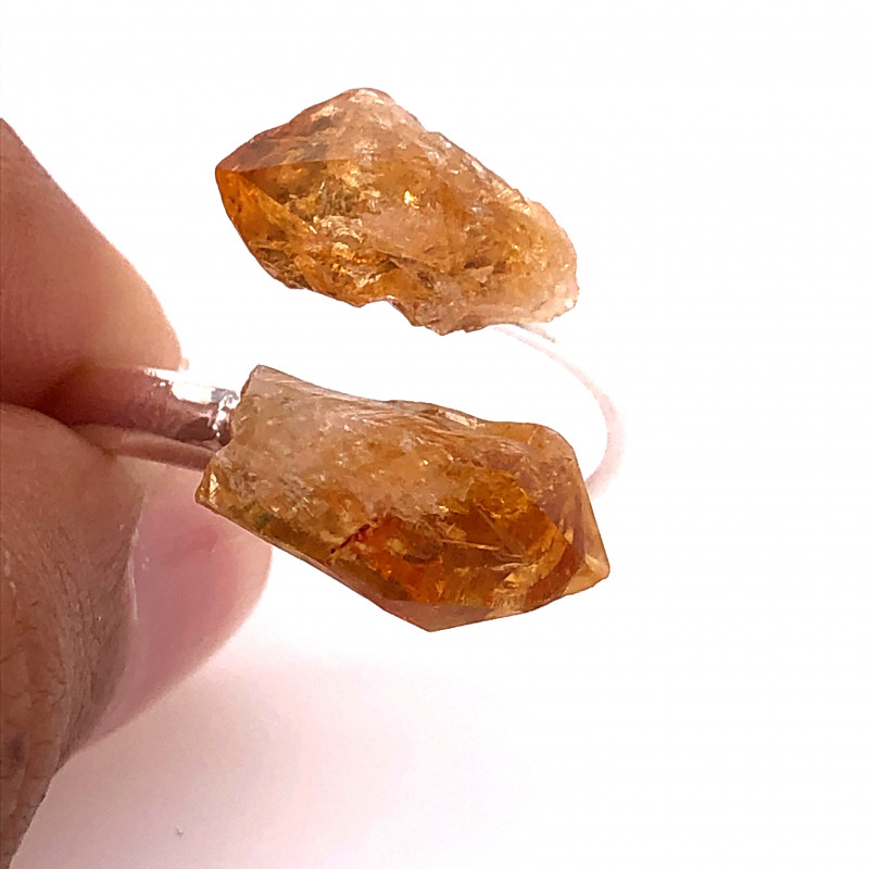 RAW Citrine Double Terminated Points Gemstone Ring BR 538