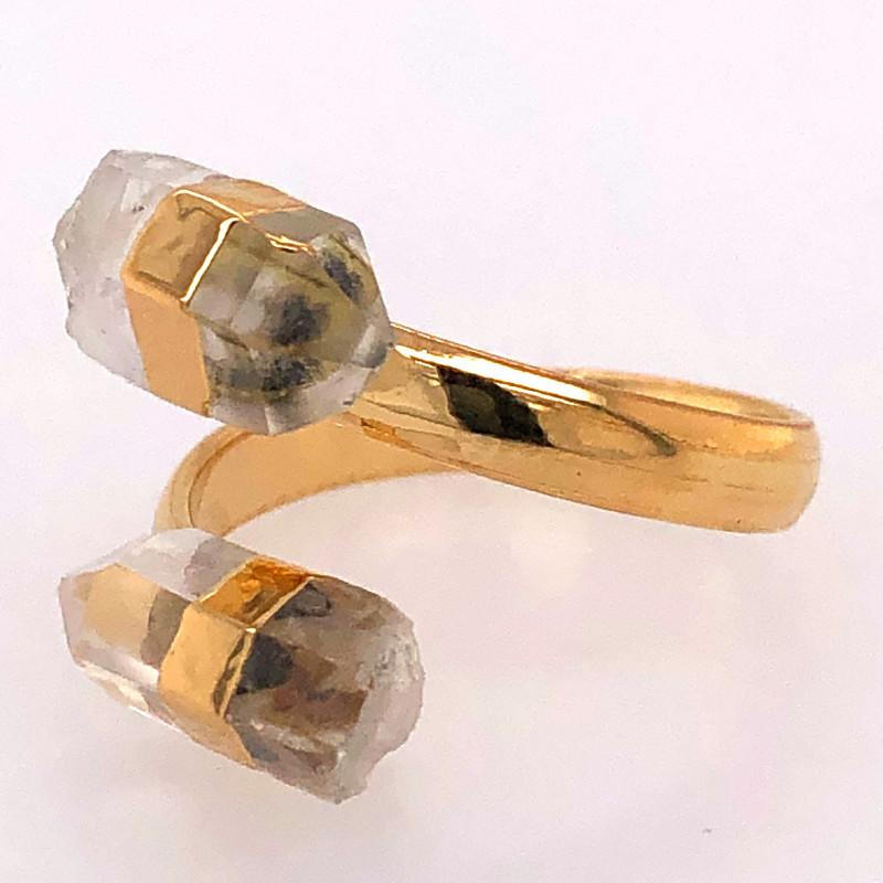 Smoky quartz Double Terminated Points Gemstone Ring BR 550