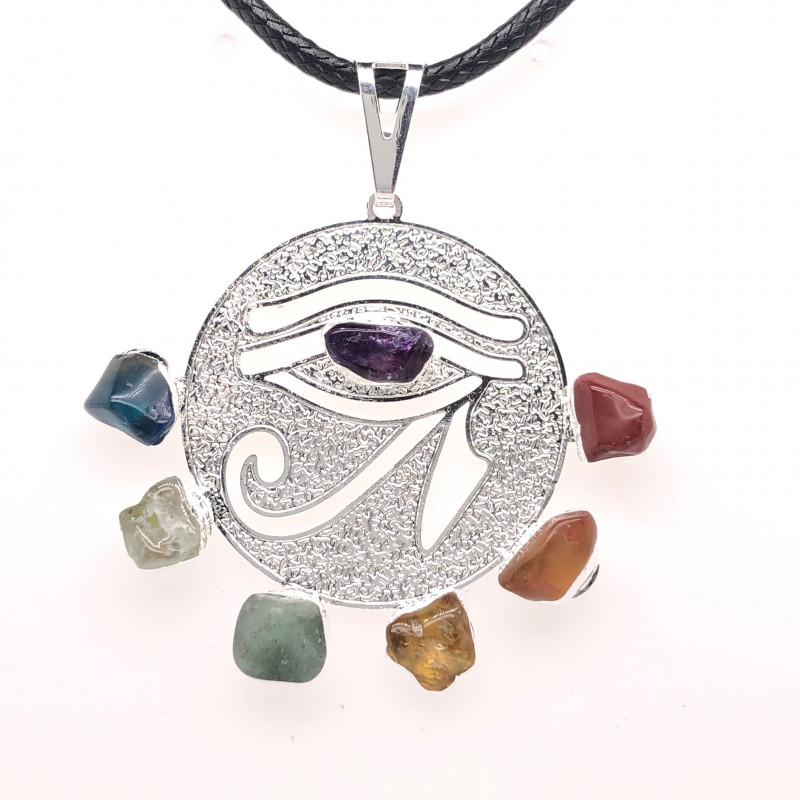 Egyptian Eye Seven Chakra - Natural Stones Pendant & Black Chain BR 566