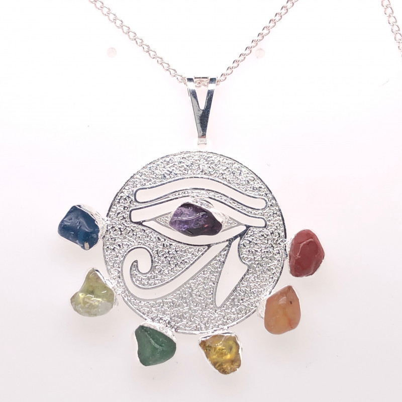 Egyptian Eye Seven Chakra - Natural Stones Pendant & Silver Chain BR 567