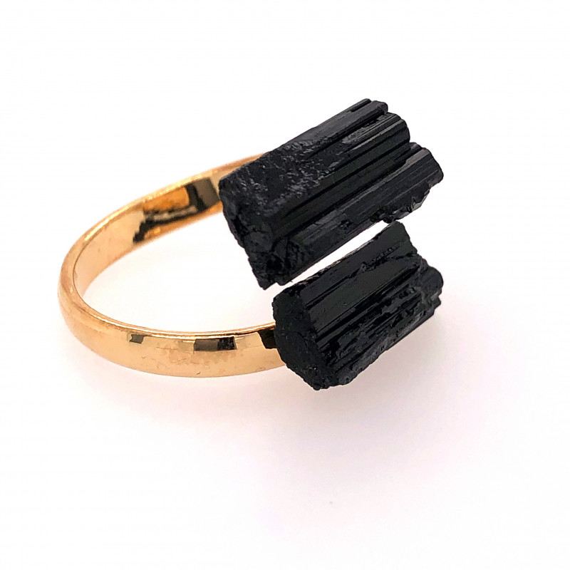 Raw Spiritual black Tourmaline Double Gemstone Ring BR 560