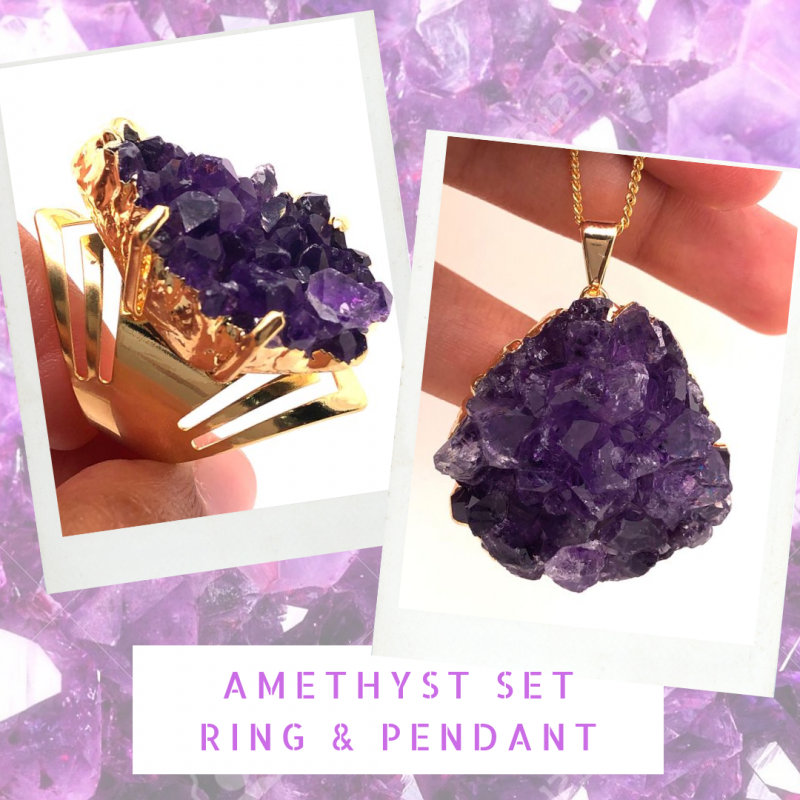 Amethyst Raw Set - High Grade Druzy Gold Ring & Pendant BR 582