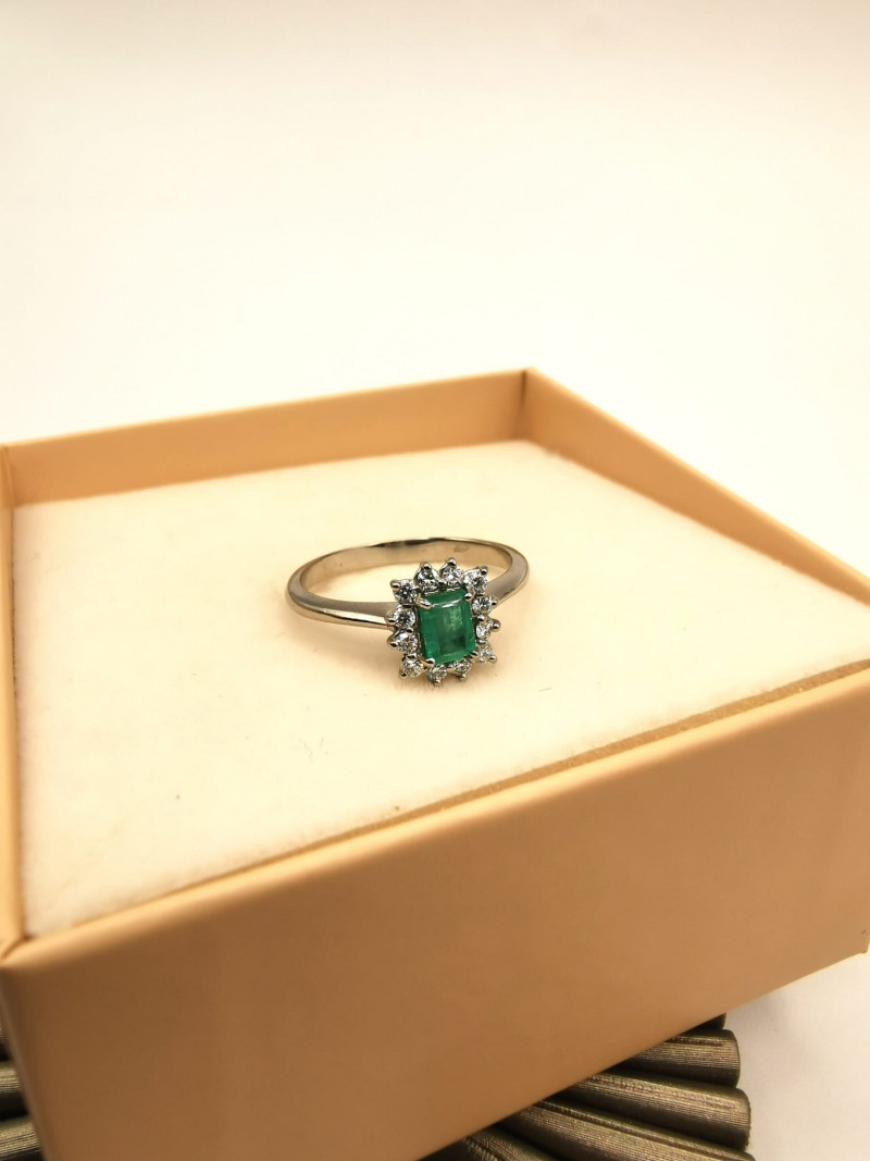 0,34ct Colombian Emerald 18k Solid Gold Ring Colombian Natural Emerald Colo