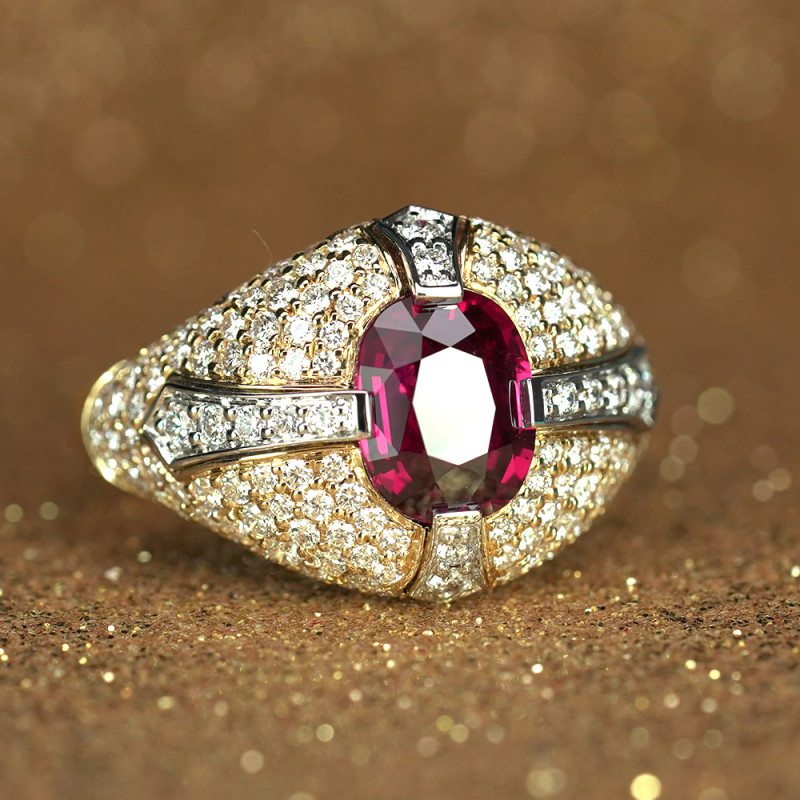 3.27CT CERTIFIED Unheated Ruby & Diamond Templar Christian Ring