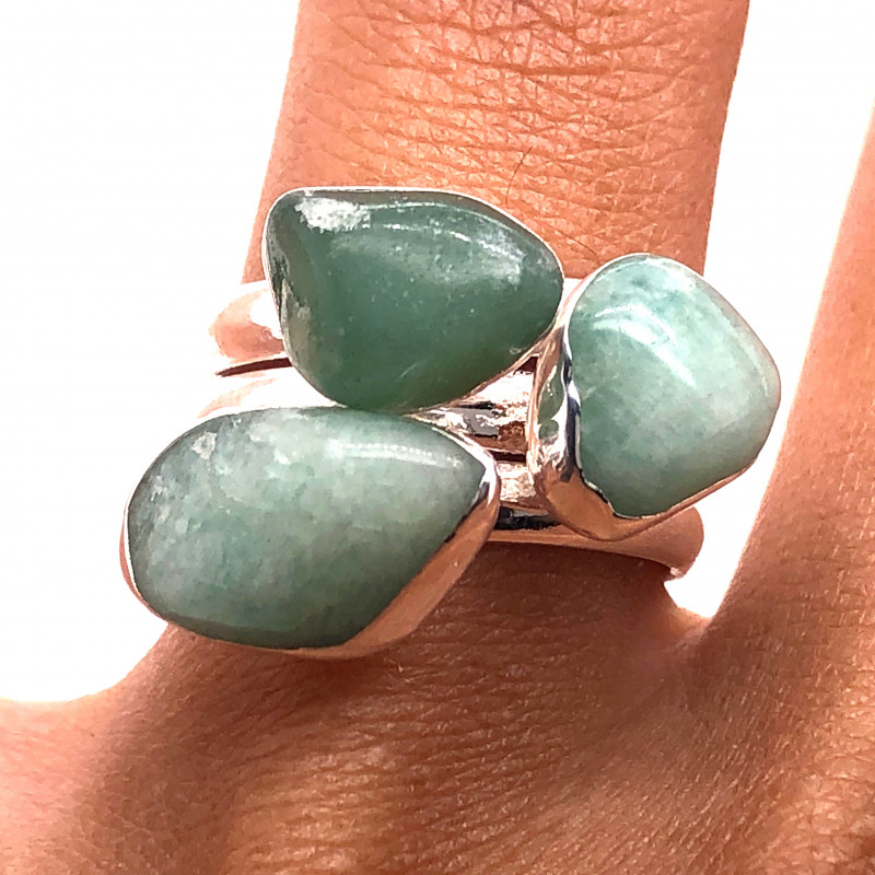 Three Raw Agate Gemstone in electroformed Silver Plated Ring BR 627