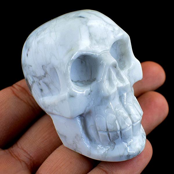 Genuine 831.00 Cts Howlite Carved Skull