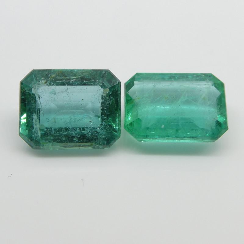 4.2ct Emerald Pair Emerald Cut
